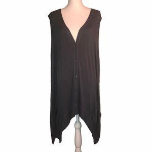 LOGO Sz 2X Lagenlook Charcoal Button-up Vest